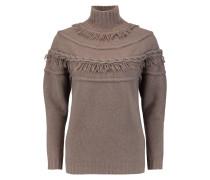 Fringe-trimmed Wool And Cashmere-blend Turtleneck Sweater Champignon