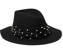 Blaine Faux Pearl-embellished Tulle-trimmed Wool-felt Fedora