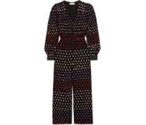 Satin-trimmed Embellished Chiffon Jumpsuit