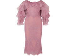 Off-the-shoulder Ruffled Corded Lace And Organza Dress
