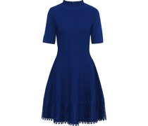 Flared Guipure Lace-trimmed Stretch-knit Dress