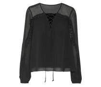 Lace-up lace-trimmed georgette blouse