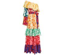 One-shoulder Ruffled Printed Silk-crepe Maxi Dress