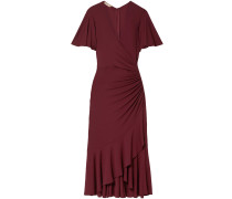 Wrap-effect Ruched Stretch-jersey Midi Dress