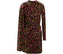 Draped Floral-print Velvet Mini Dress
