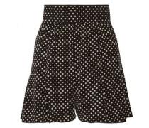 Pleated polka-dot silk crepe de chine shorts