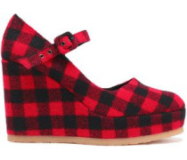 Checked felt wedge pumps