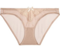 Low-rise lace-trimmed stretch-tulle briefs
