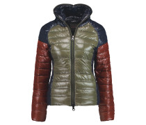 Pitia Color-block Quilted Shell Hooded Coat Armeegrün
