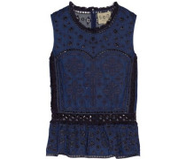 Broderie anglaise voile peplum top