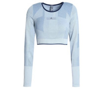 Cropped Stretch-jersey Top Stone