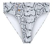 Anais Hoch Sitzendes Bikini-höschen mit Schlangenprint und Gürtel