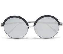 Stahlgraue Sonnenbrille aus Azetat mit Rundem Rahmen und Verspiegelten Gläsern