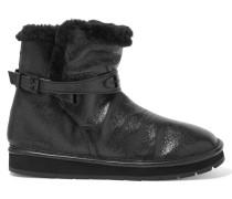 Sandy Textured-leather Boots Schwarz