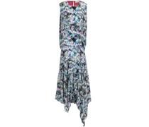 Flora Asymmetric Printed Crepe De Chine Midi Dress
