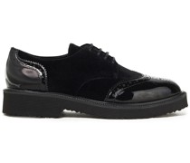 Hilary Perforated Patent-leather And Velvet Brogues