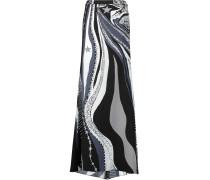 Printed Silk-satin Maxi Skirt Schwarz