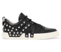 Extra Spiked Leather Sneakers Schwarz