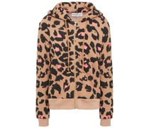 Leopard-print Cotton-blend Fleece Hoodie