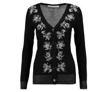 Embellished Intarsia-knit Merino Wool-blend Cardigan Schwarz