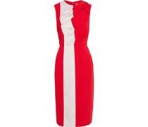 Zweifarbiges Kleid aus Crêpe mit Satin-einsätzen und Falten