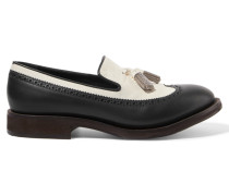 Tassel-trimmed Leather Loafers Schiefer
