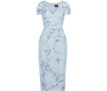 Velvet-trimmed Sequined Floral-print Chiffon Midi Dress