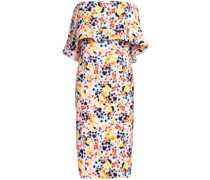 Strapless Layered Floral-print Crepe Dress
