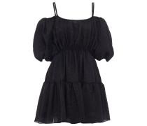 Cold-shoulder Gathered Silk-blend Jacquard Mini Dress