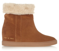 Faux Shearling-lined Suede Wedge Ankle Boots Braun