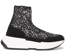 Suede-trimmed Glittered Mesh Sneakers