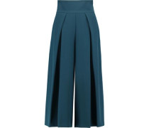 Pleated stretch-cady culottes