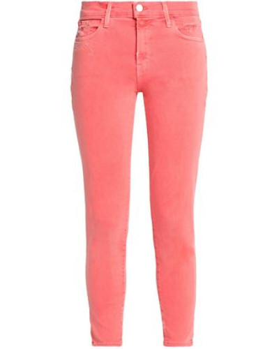 Cropped Tie-dye Mid-rise Skinny Jeans Coral  3