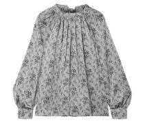 Gathered Floral-print Silk-satin Bouse