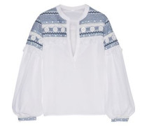 Embellished embroidered cotton-gauze top