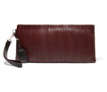 Pintucked Leather Clutch Burgunder