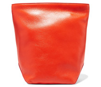 Textured-leather Clutch Knallorange