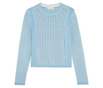 Cutout Stretch-knit Sweater Hellblau