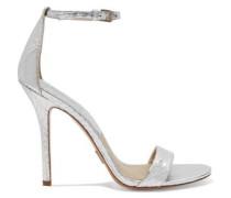 Jacqueline metallic-textured leather sandals