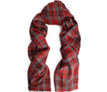 Checked alpaca and wool-blend scarf