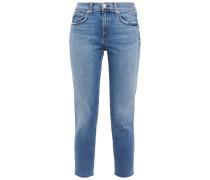 Ultra Crop Distressed Mid-rise Slim-leg Jeans