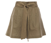 Woman Belted Linen And Cotton-blend Shorts Army Green