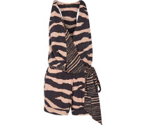 Lanai Layla wrap-effect striped voile playsuit