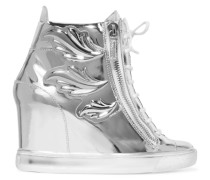 Embellished Metallic Leather Wedge Sneakers Silber