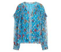 Bluse aus Georgette mit Fil Coupé, Floralem Print, Metallic-effekt und Rüschen