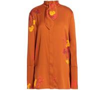 Tie-front Floral-print Silk-blend Blouse
