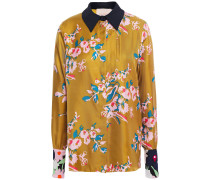 Woman Satin-trimmed Floral-print Silk-twill Shirt Mustard