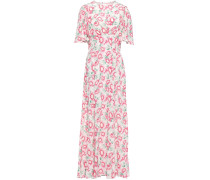 Woman Cutout Gathered Floral-print Washed-silk Maxi Dress White