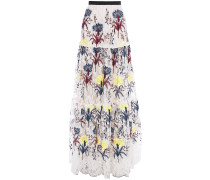 Tiered Embroidered Lace Maxi Skirt