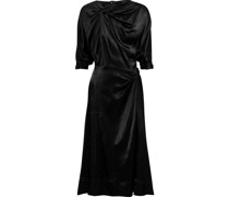 Twist-front Satin Midi Dress